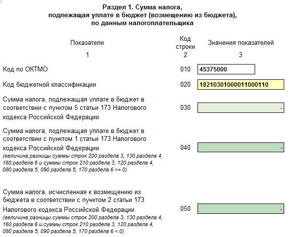 раздел 1 налоговой декларации НДС