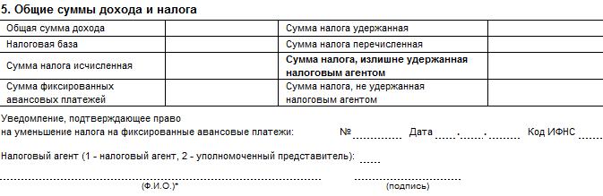 Общие суммы дохода и налога для проверки излишне удержанного НДФЛ