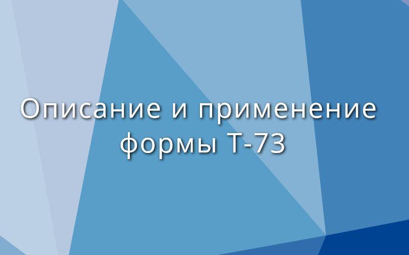 Описание и применение формы Т-73