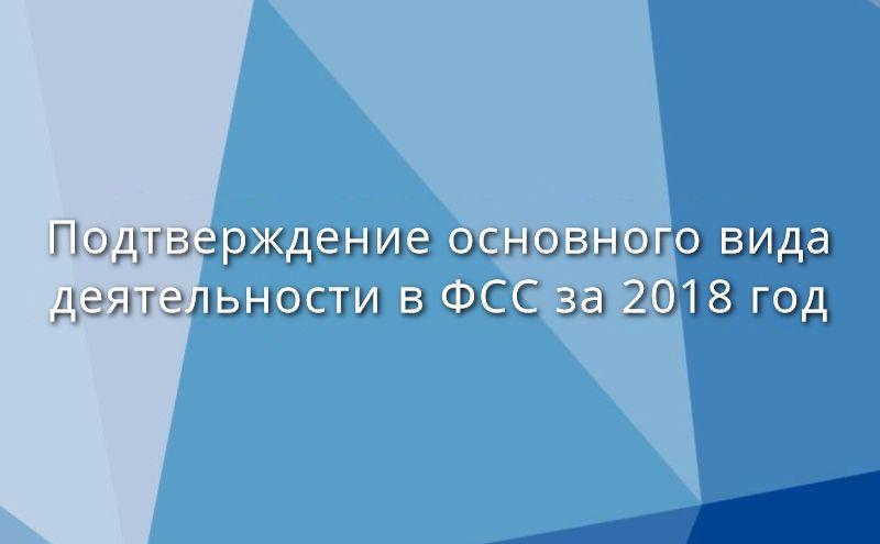 Подтверждение основного вида деятельности в ФСС за 2018 год