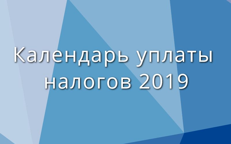 Календарь уплаты налогов 2019