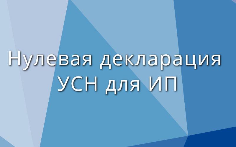 Нулевая декларация УСН для ИП